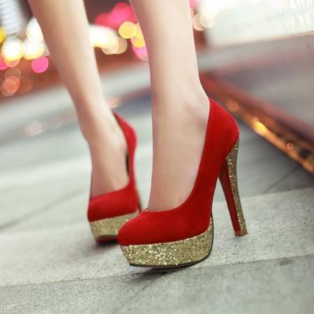 新款欧美时尚高跟粗跟女鞋女式皮鞋单鞋防水台女单鞋
