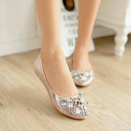 新款时尚休闲舒适浅口水钻平跟尖头女单鞋