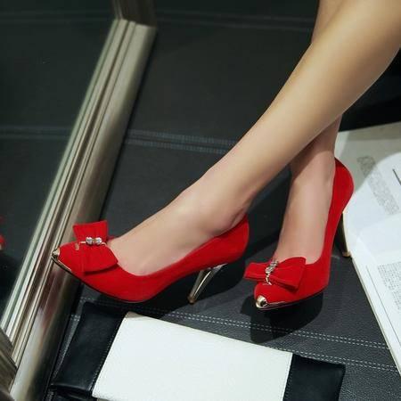 春季新款单鞋尖头高跟鞋细跟韩版绒面水钻浅口蝴蝶结女鞋