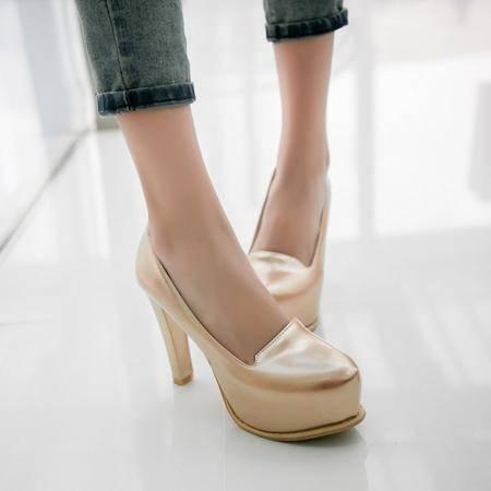 韩版新款女鞋圆头防水台粗跟高跟鞋