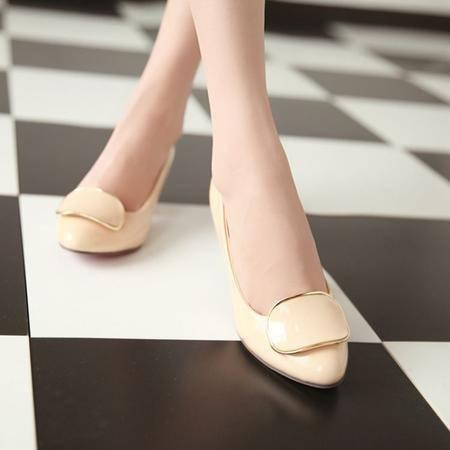 春季新款韩版潮流RV方扣女鞋舒适浅口方跟百搭单鞋