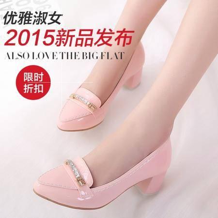 韩版时尚简约粗跟亮皮显瘦浅口尖头单鞋甜美气质水钻女鞋