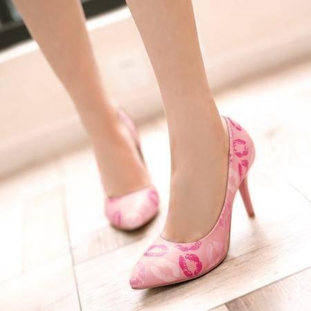 年春季欧美新款女鞋尖头高跟细跟红唇女单鞋