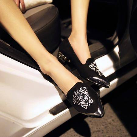 磨砂绒小尖头女单鞋时尚涂鸦低跟鞋水钻女士单鞋