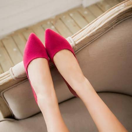 春季新款时尚拼色女鞋浅口尖头透气低跟漆皮+磨绒鞋女