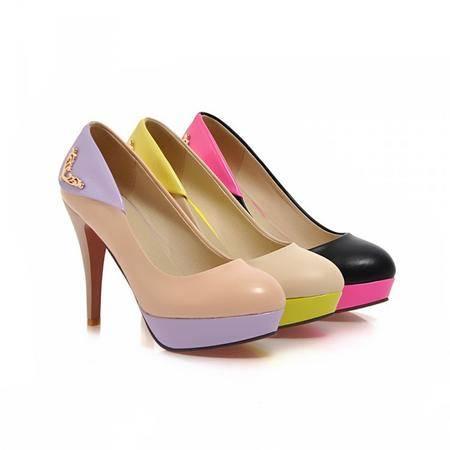春季新款潮流女鞋百搭高跟女式单鞋个性拼色淑女款女单鞋