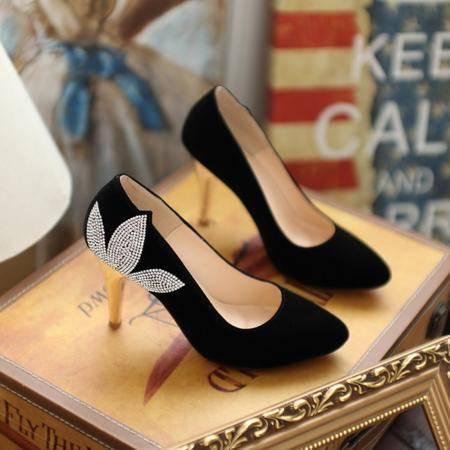 春季新款欧美女鞋尖头水钻浅口高跟鞋磨砂绒单鞋