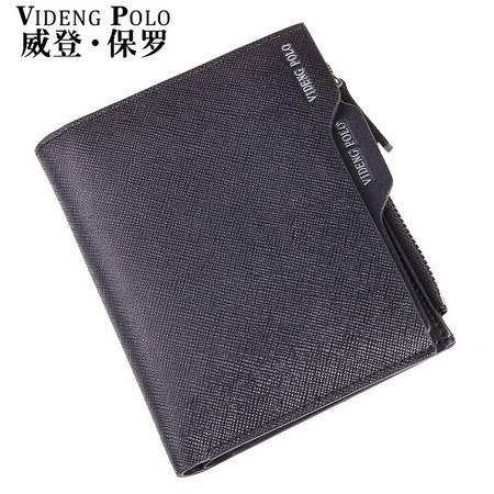 威登保罗男士钱包男短款真皮头层牛皮多功能男式钱夹皮夹卡包竖款