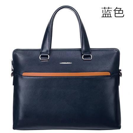 威登保罗 男士手提包横款头层牛皮男包商务公文包潮男背包电脑包 A1150A