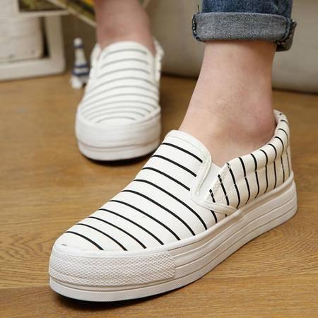 新款帆布鞋女 韩版时尚厚底一脚登女鞋条纹懒人鞋 板鞋