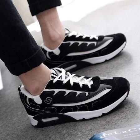 2015新款男士时尚韩版黑白网鞋运动鞋板鞋