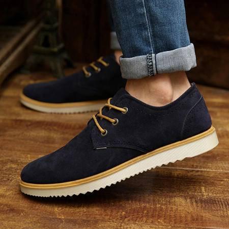 时尚男士休闲鞋 休闲鞋皮革拼接低帮男士休闲男鞋