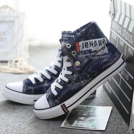 新款帆布鞋 帆布鞋韩版时尚高帮板鞋