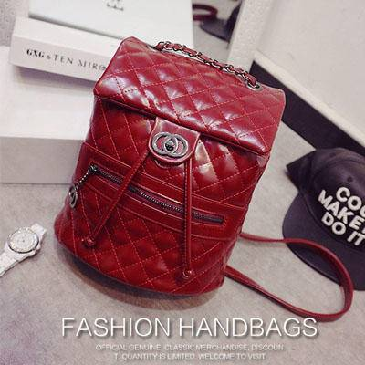 2015新款双肩背 菱格绣线背包 时尚韩版旅行包