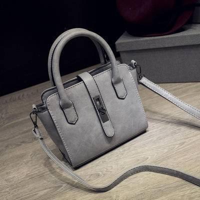 都市风潮流时尚磨砂手提包 简约锁扣单肩手提斜跨小包包