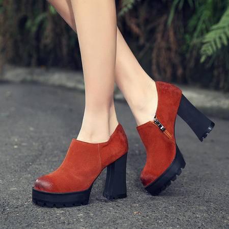 【预售】欧洲16新品女鞋时尚圆头真皮侧拉链粗跟单鞋XNNX
