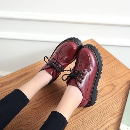 【预售】休闲女鞋系带学院风布洛克流苏单鞋厚底松糕女鞋XNNX