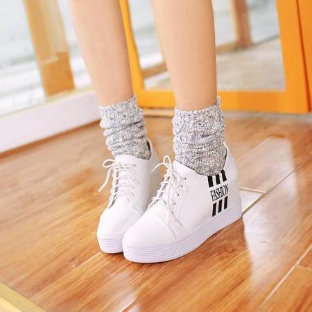【预售】2016欧美春季新款优雅内增高前系带圆头潮流时尚单鞋女鞋XNNX