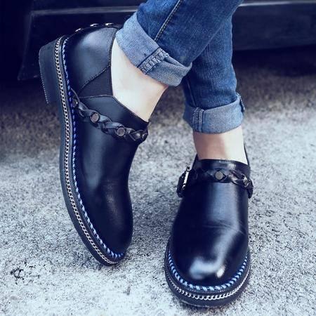 【预售】2016春季新款里外全皮英伦风格低跟单鞋XNNX