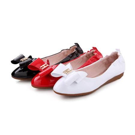 【预售】2016年春季新款蝴蝶结低跟女鞋单鞋真皮鞋豆豆鞋子蛋糕鞋XNNX