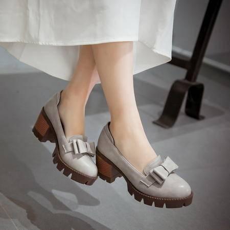【预售】韩版时尚甜美蝴蝶结粗跟高跟浅口圆头女单鞋公主鞋XNNX