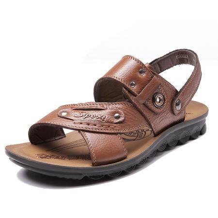 2016夏季新款男士休闲凉鞋真皮沙滩鞋男凉拖鞋男鞋JST