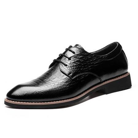 2016新款商务皮鞋男士尖头系带正装皮鞋真皮男鞋子JST