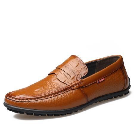 2016新款男士鳄鱼纹纯手工豆豆鞋真皮休闲鞋驾车鞋JST