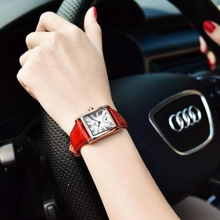 威诺时复古真皮带手表女石英表潮流时尚手表WNS