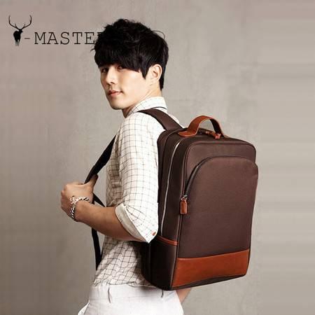 韩版男士背包 大容量拉链双肩背包 纯色休闲牛津布旅行包MST