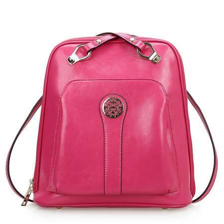 2016新款潮学院风时尚牛皮多用双肩包书包单肩背包旅行包【0460】QSL