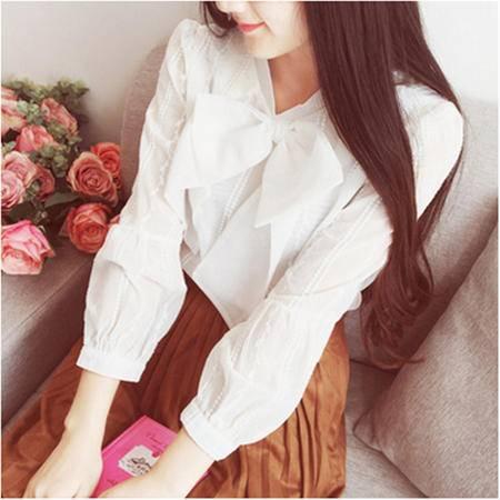 602#2016春季新款淑女时尚刺绣白衬衫蝴蝶结系带泡泡袖衬衣NXNZ
