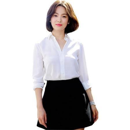 8833#2016春夏新款太阳的后裔宋慧乔同款简约方领白色衬衫NXNZ