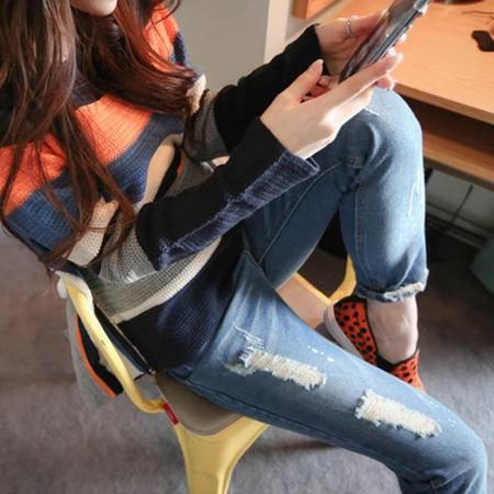 短牛仔裤女士牛仔裤 女式直筒九分裤 女装破洞牛仔裤WMK