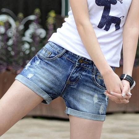 2016夏季破洞牛仔短裤女夏韩版修身显瘦女式牛仔裤WMK