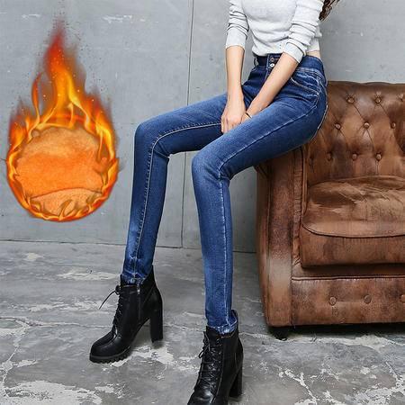 2016秋冬新款加绒牛仔裤 女韩版显瘦小脚铅笔裤加厚保暖长裤583WMK