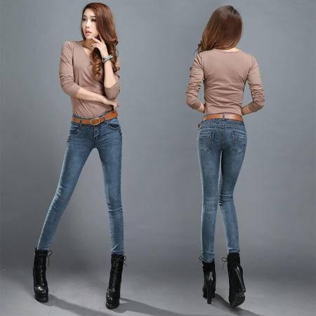 2016春季新款棉弹牛仔裤女长裤韩版弹力修身显瘦浅蓝小脚女裤WMK