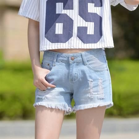 2016新款破洞牛仔裤韩版女显瘦夏宽松浅蓝牛仔短裤 热裤 潮WMK