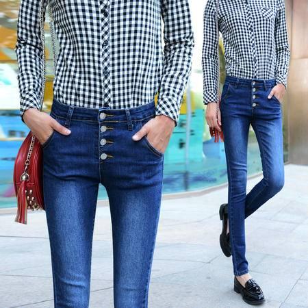 时尚新款韩版潮流排扣高腰显瘦小脚牛仔长裤女牛仔裤WMK