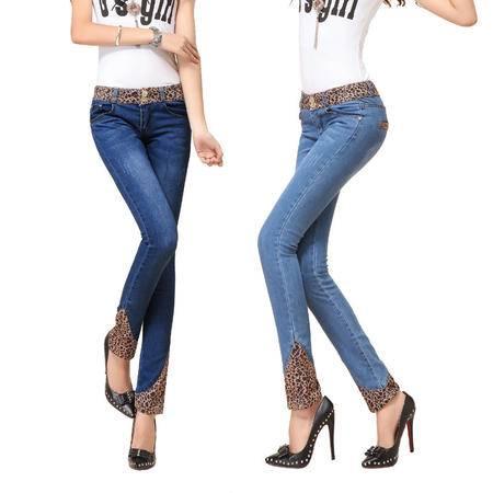 两色新款韩版豹纹牛仔裤女小脚铅笔裤 女式长裤子 WMK