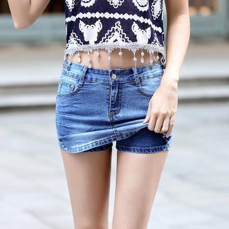 2016牛仔短裤女士夏季裤裙韩版修身显瘦中腰半身裙WMK