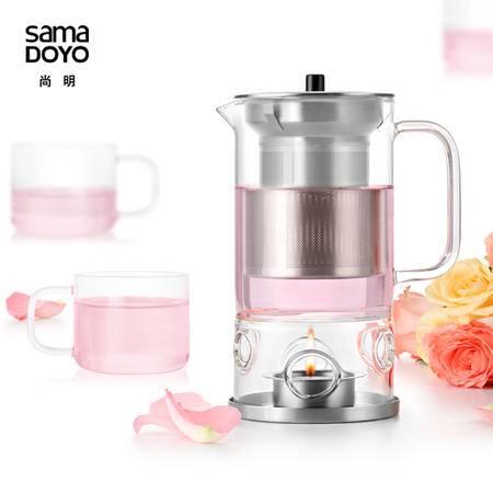 尚明玻璃茶壶玻璃茶具泡茶器 不锈钢过滤内丹茶具套装可明火加热