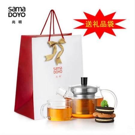 尚明耐热玻璃茶壶不锈钢过滤茶具套装水壶加厚玻璃茶具JR