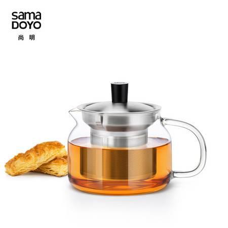 尚明红茶泡茶具可加热玻璃茶壶 过滤茶杯不锈钢内胆耐热玻璃加厚