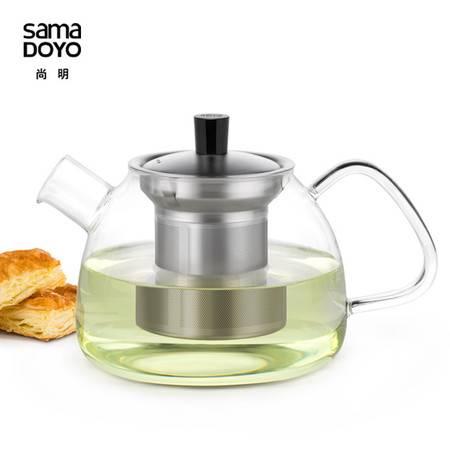 尚明加厚花茶茶壶不锈钢内胆礼品玻璃茶具耐热玻璃茶壶大容量茶漏