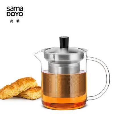 尚明耐热玻璃茶壶玻璃透明花茶壶玻璃茶具不锈钢茶漏过滤玻璃加厚