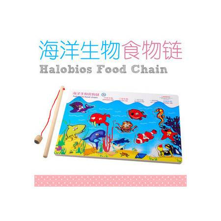 供应精美木制海洋钓鱼玩具拼图拼板海洋生物食物链DDM01MGWJ