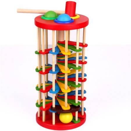 敲球落梯玩具RB32木制儿童益智彩色敲球台滚球落梯MGWJ