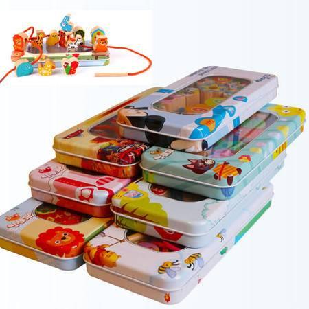 新品榉木铁盒收纳串珠RB29宝宝益智玩具木制穿线大块铁盒串珠MGWJ