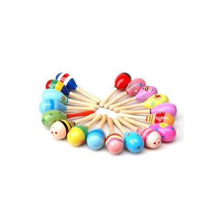 木制小沙锤WM114练习抓握木制卡通沙球摇铃婴儿玩具0-3岁MGWJ
